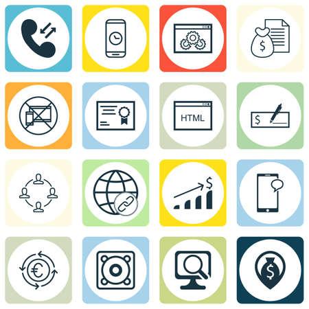 Set Of 16 Universal éditables Icônes Pour l'aéroport, Voyage Et Éducation Sujets. Comprend des icônes telles que données cellulaires, paiement bancaire, la durée d'appel et plus encore.