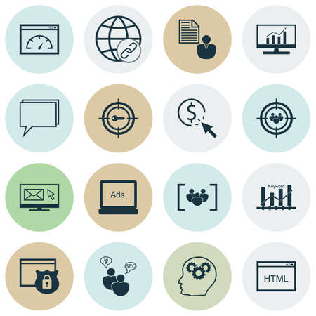 optimisation: Set Of Marketing Icons On Keyword Optimisation, Loading Speed And Conference Topics. Editable Vector Illustration. Includes HTML, Conference And Page Vector Icons.