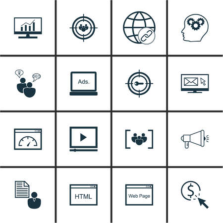 Set Of 16 Universal Editable Icons For Marketing, SEO And Advertising Topics. Includes Icons Such As PPC, Brain Process, Coding And More. Illustration