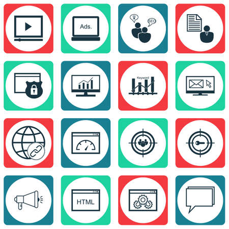 Set Of Marketing Icons On Keyword Marketing, Coding And Loading Speed Topics. Editable Vector Illustration. Includes Bulding, SEO And Optimization Vector Icons.