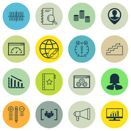Set Of 16 Universal Editable Icons For Marketing, Statistics And Project Management Topics. Includes Icons Such As Connectivity, Growth, Cosinus Diagram And More.