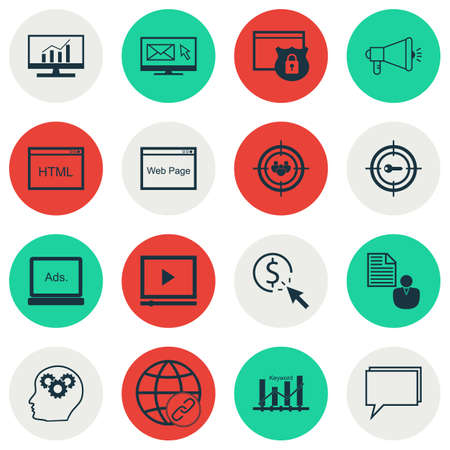 thinking link: Set Of 16 Universal Editable Icons For Marketing, Advertising And SEO Topics. Includes Icons Such As Report, Security, Conference And More. Illustration