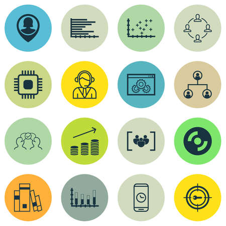 segmented: Set Of 16 Universal Editable Icons For Human Resources, Statistics And SEO Topics. Includes Icons Such As Questionnaire, Segmented Bar Graph, Chip And More.