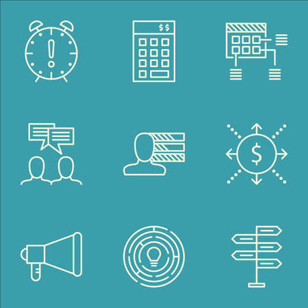 ability to speak: Set Of Project Management Icons On Innovation, Investment And Money Topics. Editable Vector Illustration. Includes Schedule, Time And Finance Vector Icons.
