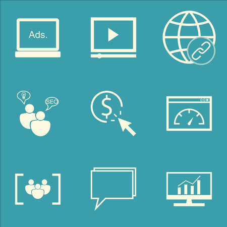 Set Of SEO Icons sur des études de marché, lecteur vidéo et le questionnaire Sujets. Editable Vector Illustration. Comprend Vitesse, Bulding et la dynamique vecteur icônes.