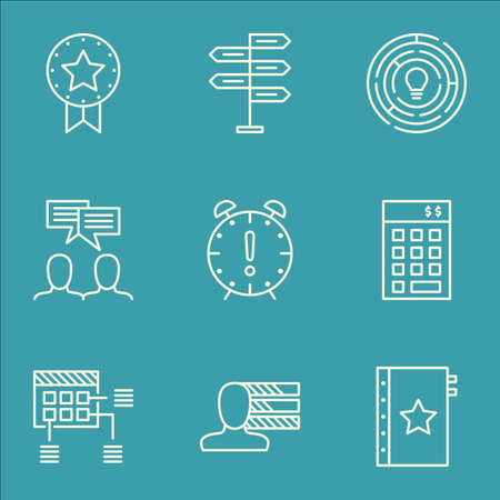 personality development: Set Of Project Management Icons On Personal Skills, Innovation And Investment Topics. Editable Vector Illustration. Includes Schedule, Badge And Discussion Vector Icons.