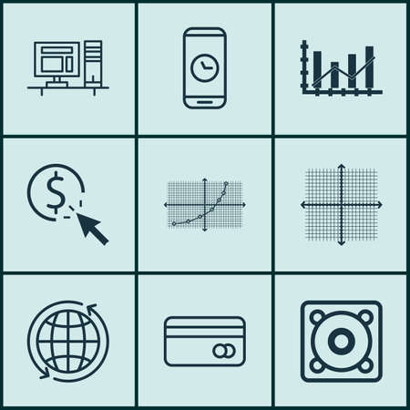 transact: Set Of 9 Universal Editable Icons For Statistics, Computer Hardware And Airport Topics. Includes Icons Such As PPC, Plastic Card, Line Up And More. Illustration
