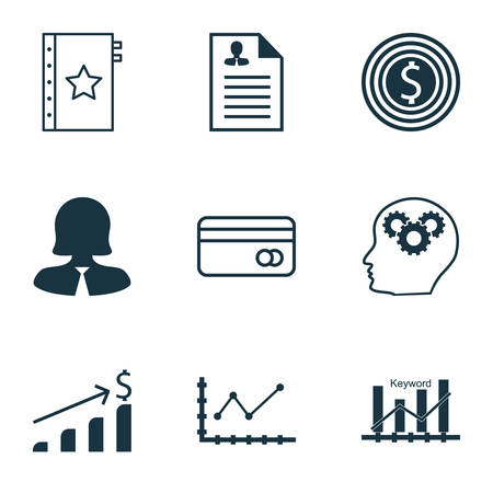 optimisation: Set Of 9 Universal Editable Icons For Airport, Statistics And Marketing Topics. Includes Icons Such As Business Woman, Changes Graph, Keyword Optimisation And More. Illustration