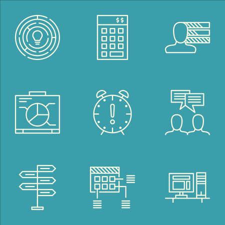 Ensemble d'icônes de gestion de projet sur l'opportunité, les compétences personnelles et les sujets de discussion. Illustration vectorielle modifiable. Inclut des icônes de vecteur personnel, de projet et de compétences.
