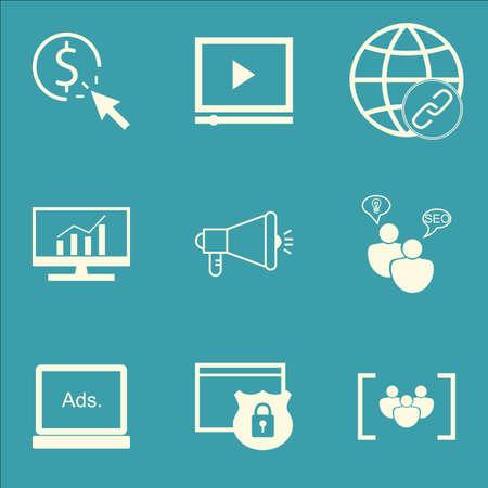 Set Of SEO Icons Sur la campagne médiatique, PPC et la connectivité Sujets. Editable Vector Illustration. Comprend Bulding, Dynamics Et Analytics icônes vectorielles.