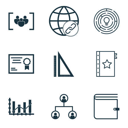 raise: Set Of 9 Universal Editable Icons For Marketing, Human Resources And Project Management Topics. Includes Icons Such As Raise Diagram, Tree Structure, Certificate And More.