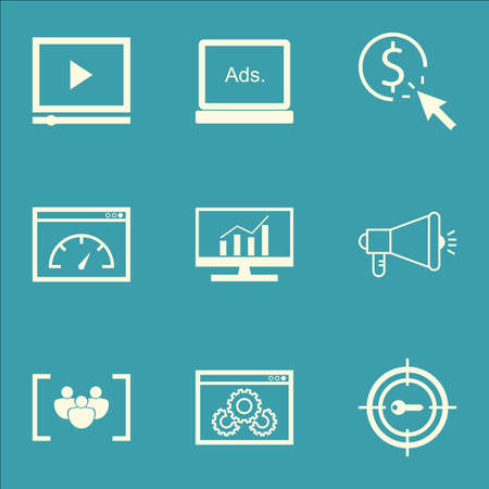ppc: Set Of SEO Icons On Video Player, PPC And Website Performance Topics. Editable Vector Illustration. Includes Per, Advertising And Digital Vector Icons.