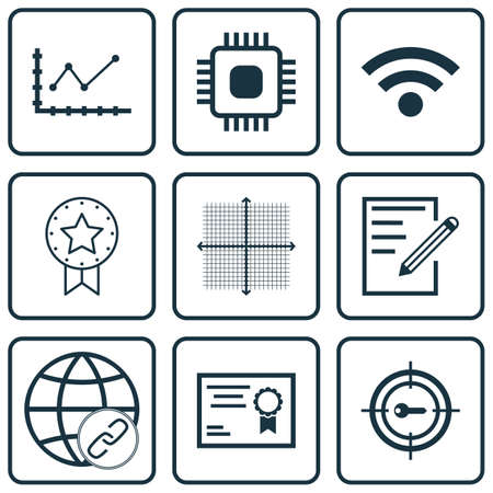 bulding: Set Of 9 Universal Editable Icons For Education, Project Management And SEO Topics. Includes Icons Such As Graphical Grid, Connectivity, Certificate And More. Illustration