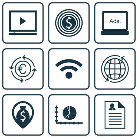 application recycle: Set Of 9 Universal Editable Icons For SEO, Marketing And Airport Topics. Includes Icons Such As Currency Recycle, Female Application, Money Navigation And More.