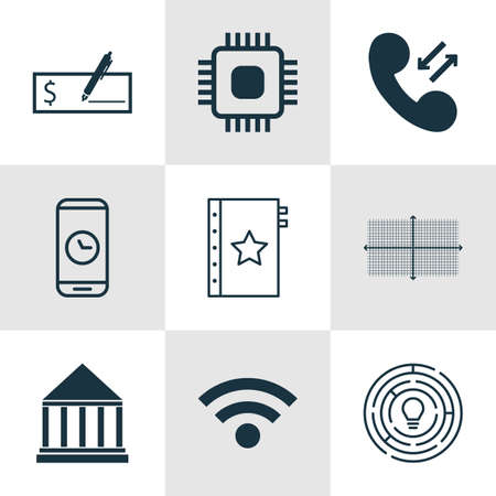 checkbook: Set Of 9 Universal Editable Icons For Statistics, Education And Human Resources Topics. Includes Icons Such As Bank Payment, Innovation, Call Duration And More.