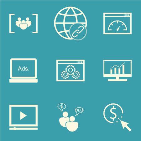 Ensemble d'icônes de SEO sur la performance du site Web, la vitesse de chargement et SEO sujets de remue-méninges. Illustration vectorielle modifiable Comprend Bulding, icônes vectorielles complètes et numériques.