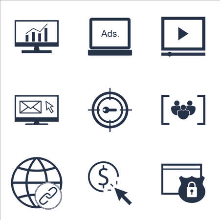 Set Of Advertising Icons On Connectivity, Digital Media And Newsletter Topics. Editable Vector Illustration. Includes Group, Marketing And Target Vector Icons.