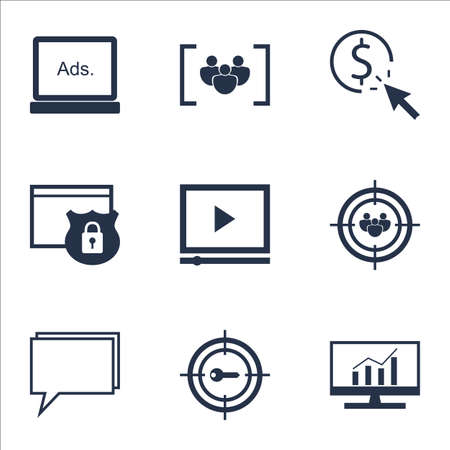ppc: Set Of Advertising Icons On Conference, PPC And Market Research Topics. Editable Vector Illustration. Includes Comprehensive, Consulting And Click Vector Icons.