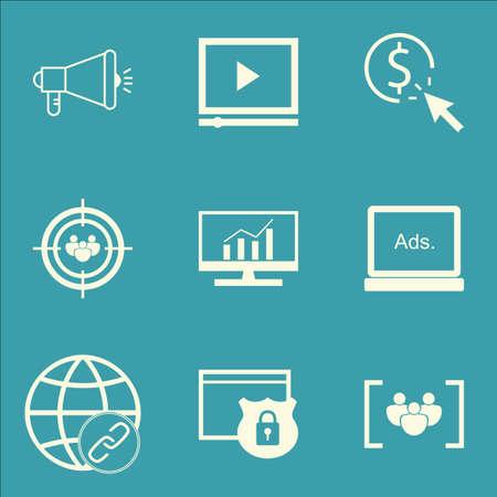 Set Of Publicité Icônes Le groupe de discussion, la connectivité et le questionnaire Sujets. Editable Vector Illustration. Comprend la vidéo, et Objectif icônes vectorielles.