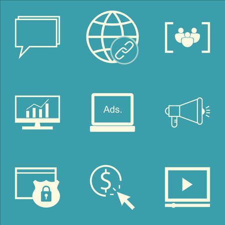 ppc: Set Of Marketing Icons On Questionnaire, PPC And Connectivity Topics. Editable Vector Illustration. Includes Protected, Link And Community Vector Icons. Illustration