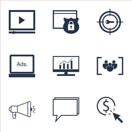 ppc: Set Of Marketing Icons On Digital Media, Market Research And PPC Topics. Editable Vector Illustration. Includes Analytics, Protected And Community Vector Icons.