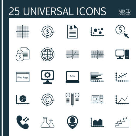 roaming: Set Of 25 Universal Editable Icons For Airport, Computer Hardware And Advertising Topics. Includes Icons Such As Money Recycle, Chemical, Digital Media And More. Illustration