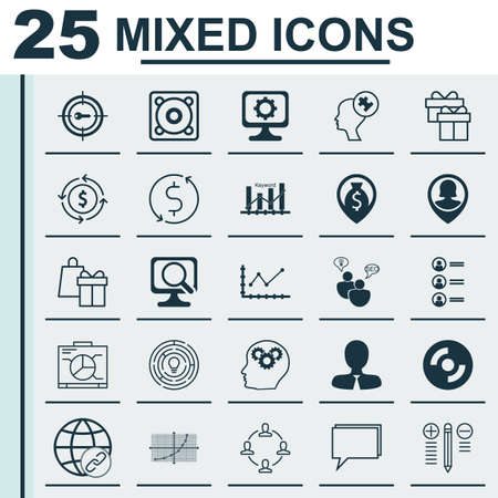 making music: Set Of 25 Universal Editable Icons For Travel, Computer Hardware And Marketing Topics. Includes Icons Such As Decision Making, Music, Line Up And More. Illustration