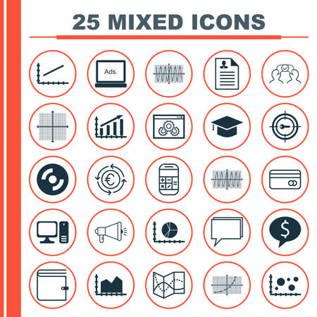 biography: Set Of 25 Universal Editable Icons For Computer Hardware, Human Resources And SEO Topics. Includes Icons Such As Plastic Card, Business Deal, Website Performance And More.