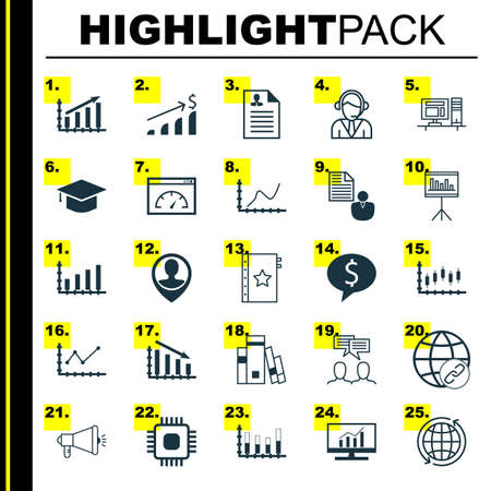 feedback link: Set Of 25 Universal Editable Icons For Project Management, Advertising And Airport Topics. Includes Icons Such As Fail Graph, Computer, Segmented Bar Graph And More.