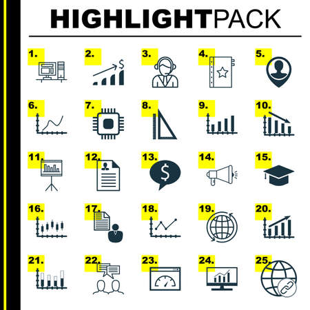 Set Of 25 Universal Editable Icons For Human Resources, Project Management And Statistics Topics. Includes Icons Such As Market Research, Stock Market, Business Deal And More.