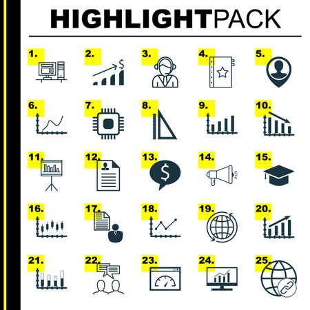 Set Of 25 Universal éditables Icônes des ressources humaines, gestion de projet et Statistiques Sujets. Comprend des icônes telles que des études de marché, Marché boursier, Entrepreneur Et Plus.