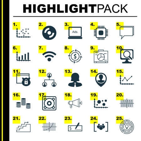 dvd rom: Set Of 25 Universal Editable Icons For Marketing, Project Management And Statistics Topics. Includes Icons Such As Sinus Graph, Wireless, Conference And More. Illustration