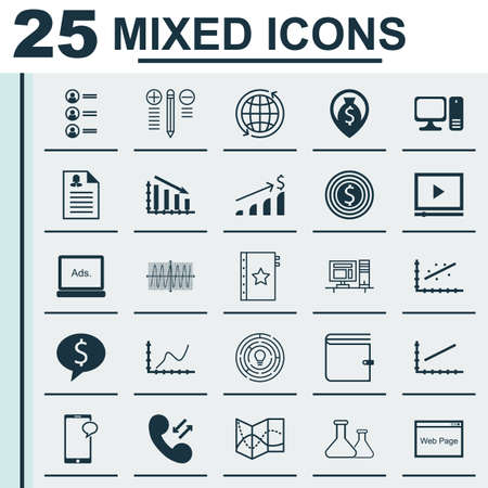 roaming: Set Of 25 Universal Editable Icons For Statistics, Human Resources And Project Management Topics. Includes Icons Such As Business Deal, Computer, Successful Investment And More. Illustration