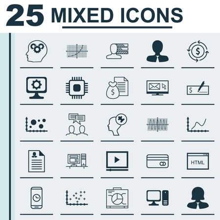 personality development: Set Of 25 Universal Editable Icons For Marketing, SEO And Travel Topics. Includes Icons Such As Newsletter, Manager, Money Recycle And More.