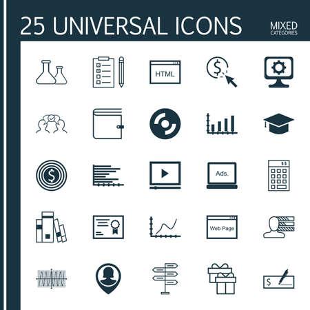 balanza de laboratorio: Conjunto de 25 iconos editables Universal para la Educación, la gestión empresarial y Estadísticas Argumentos. Incluye iconos como Oportunidad, Diagrama de Cos, química y más.