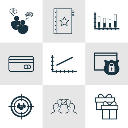 Set Of 9 Universal Editable Icons For Airport, Statistics And Project Management Topics. Includes Icons Such As Focus Group, Present, Segmented Bar Graph And More.