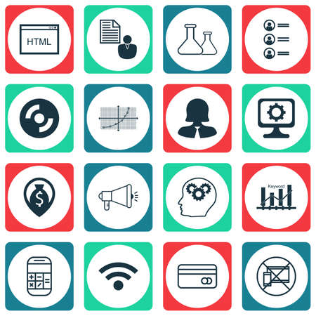 funding of science: Set Of 16 Universal Editable Icons For Human Resources, SEO And Marketing Topics. Includes Icons Such As Blank Cd, Coding, Media Campaign And More.