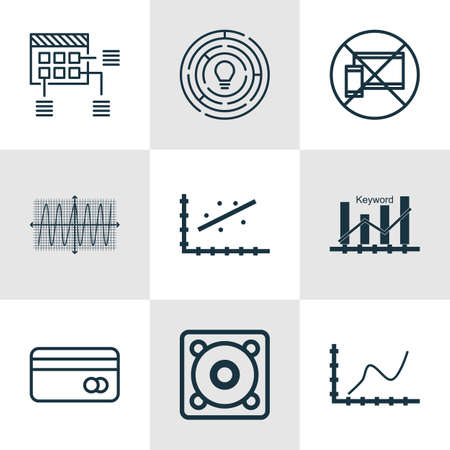 cosinus: Set Of 9 Universal Editable Icons For Project Management, Airport And SEO Topics. Includes Icons Such As Music, Cosinus Diagram, Keyword Optimisation And More.