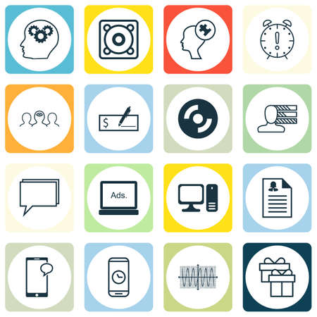 mind set: Set Of 16 Universal Editable Icons For Statistics, Human Resources And Business Management Topics. Includes Icons Such As Brain Process, Present, Human Mind And More.