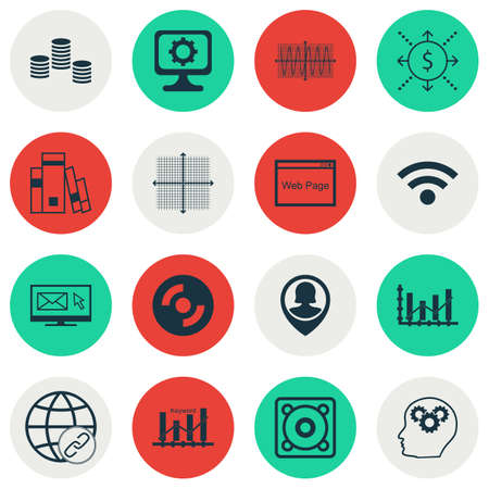 optimisation: Set Of 16 Universal Editable Icons For Project Management, Human Resources And Computer Hardware Topics. Includes Icons Such As Brain Process, Graphical Grid, Keyword Optimisation And More. Illustration