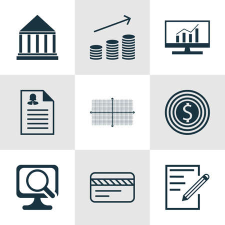 debt collection: Set Of 9 Universal Editable Icons For Statistics, Advertising And Education Topics. Includes Icons Such As Coins Growth, Bank Card, Female Application And More.