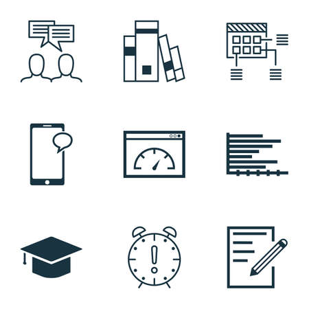 graduation countdown: Set Of 9 Universal Editable Icons For Education, Project Management And Advertising Topics. Includes Icons Such As Discussion, Messaging, Paper And More.