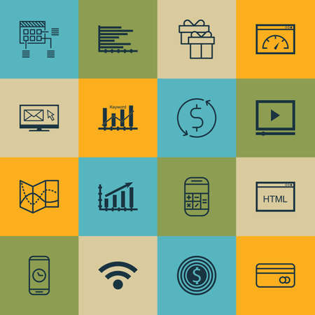 roaming: Set Of 16 Universal Editable Icons For Statistics, Advertising And Human Resources Topics. Includes Icons Such As Newsletter, Schedule, Plastic Card And More. Illustration
