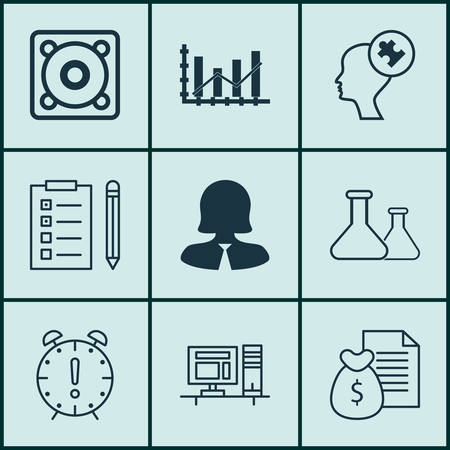 raise: Set Of 9 Universal Editable Icons For Business Management, Statistics And Human Resources Topics. Includes Icons Such As Time Management, Business Woman, Raise Diagram And More.