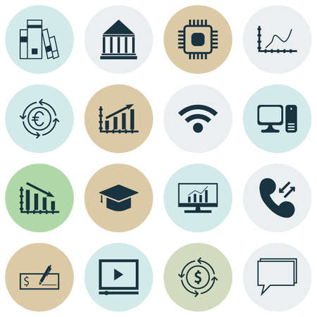 profit graph: Set Of 16 Universal Editable Icons For SEO, Education And Marketing Topics. Includes Icons Such As Cellular Data, Profit Graph, Fail Graph And More.