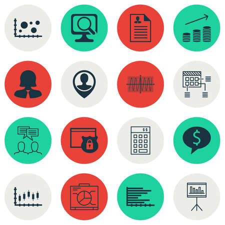 cosinus: Set Of 16 Universal Editable Icons For Marketing, Statistics And Project Management Topics. Includes Icons Such As Business Deal, Investment, Cosinus Diagram And More.