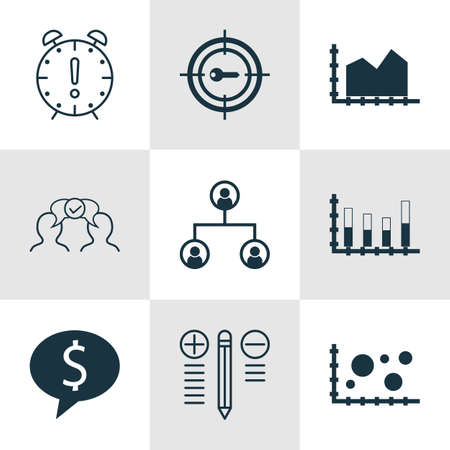 sequence: Set Of 9 Universal Editable Icons For Advertising, Business Management And Project Management Topics. Includes Icons Such As Comparsion, Business Deal, Sequence Graphics And More. Illustration