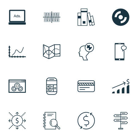 cosinus: Set Of 16 Universal Editable Icons For Business Management, Statistics And Education Topics. Includes Icons Such As Calculation, Cosinus Diagram, Money And More. Illustration