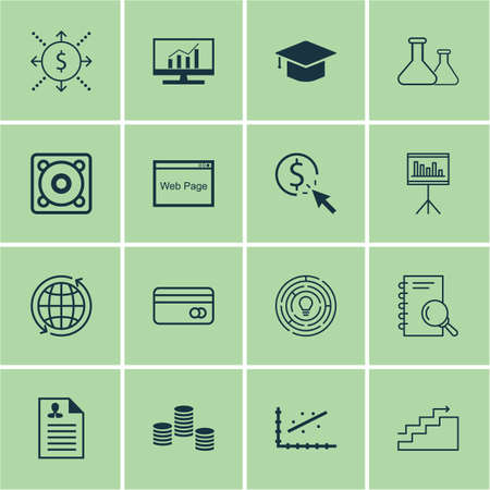 ppc: Set Of 16 Universal Editable Icons For SEO, Statistics And Marketing Topics. Includes Icons Such As World, Curriculum Vitae, PPC And More.