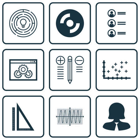 cosinus: Set Of 9 Universal Editable Icons For Education, Human Resources And Project Management Topics. Includes Icons Such As Website Performance, Cosinus Diagram, Plot Diagram And More. Illustration